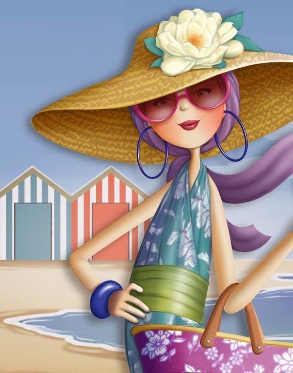 Nina de San é uma ilustradora francesa, trabalha no editorial de revistas e livros infantis. Elegância na praia!