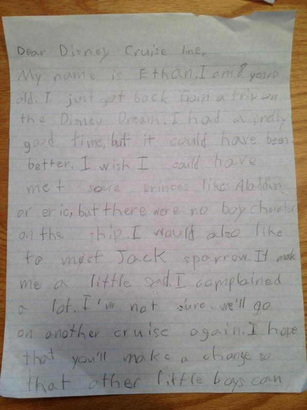 8-Year Old Writes a Letter to Disney Cruises Complaining About Their Lack of Cool Role Models on Ship