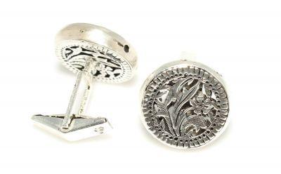 925 Ayar Gümüş Ajor Desenli Yuvarlak El işi Kol Düğmesi