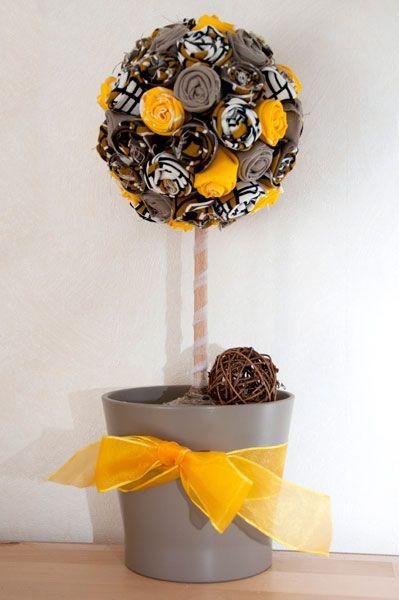 topiario de flores de tela. tutorial