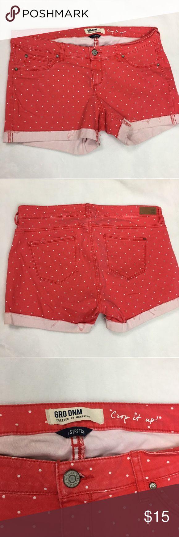 "GRG Denim Coral Polka Dot Stretch Shorts GRG Polka Dot Stretch Shorts Size 13 Cotton Blend in gently used condition with no flaws.  Measurements: Waist: 17.5"" Rise: 8"" Inseam: 4"" GRG Denim  Shorts Jean Shorts"