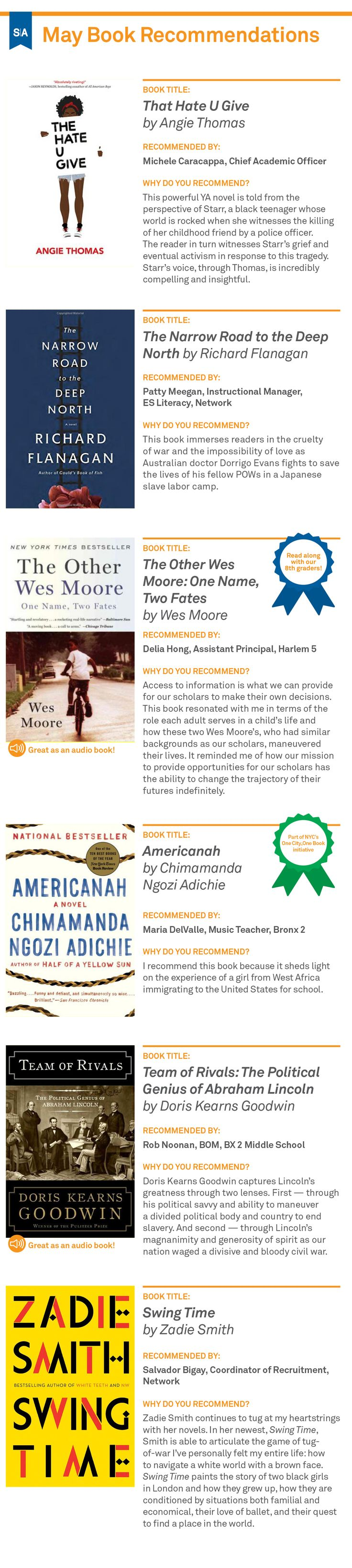 Our May Book Recommendations: brought to you by the teachers and staff of Success Academy Charter Schools.