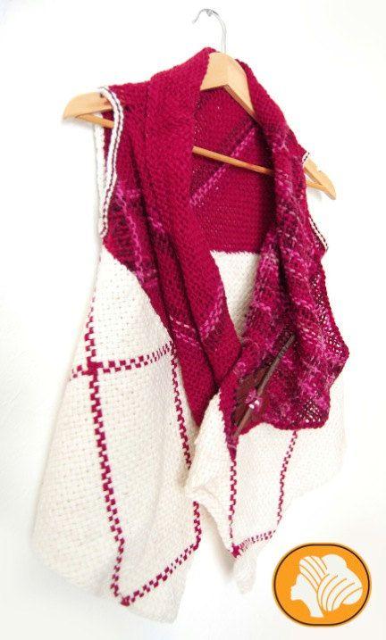 Fuchsia and white flecked woolen wrap vest от Ullvuna на Etsy
