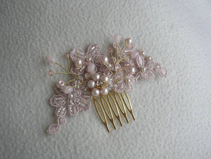 Rose Gold Hair Comb, Blush Hair Accessories, Bridal Hairpiece, Blush Pearl Hair Comb, Wedding Hair Comb, Lace Hair Piece, Blush Headpiece