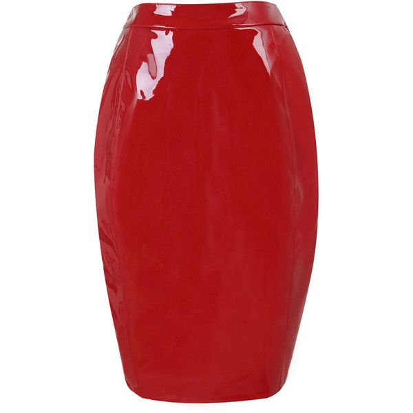 'Castalia' ❤ liked on Polyvore featuring skirts, bottoms, red knee length pencil skirt, red skirt, red pencil skirt, knee length pencil skirt and pencil skirt