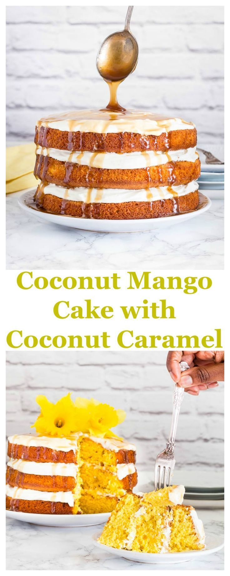 Coconut Mango Cake with Coconut Caramel Drizzle   Recipes From A Pantry