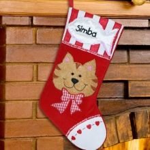 Embroidered Cat Personalized Pet Christmas Stockings... Hey Kim I found something for your girls