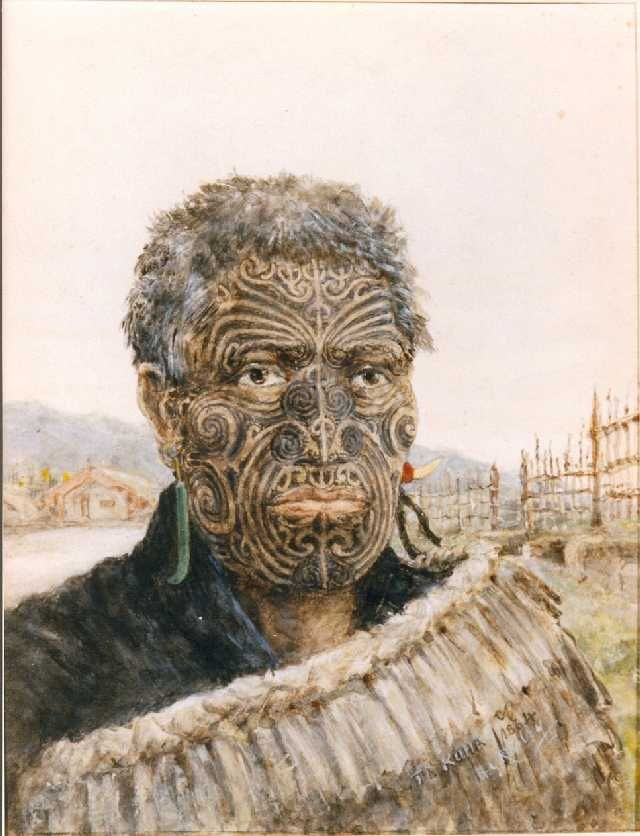 Watercolour of Te Kuha, 1864. Te Kuha was a Maori chief in New Zealand. This portrait was painted by Lieutenant Horatio Robley, who served with the 68th Light Infantry in New Zealand during the Second Maori War, 1864-1866. After the Battle of Te Ranga, the defeated Maori tribes began to surrender. Before the 68th Light Infantry sailed for home in March 1866, Horatio Robley spent as much time as he could with the Maoris living with them and sketching and studying their way of life, their art…