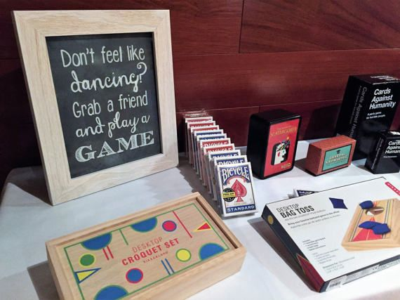 """""""Don't feel like dancing Grab a Game"""" Wedding Chalkboard Sign by ChitChatChalkboards"""