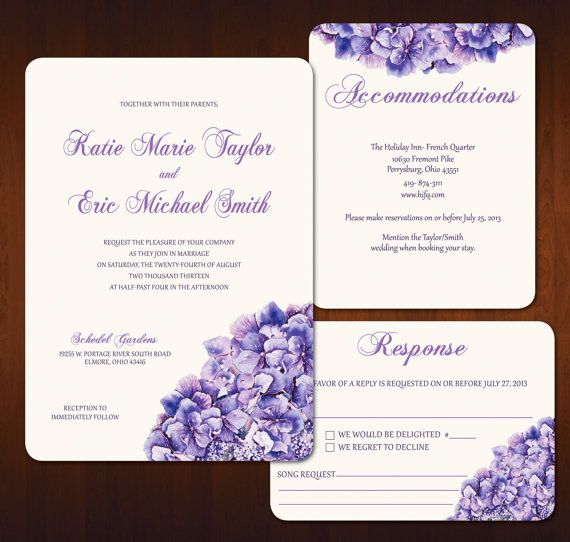 Purple Hydrangea Wedding Invitation by ayleighdesigns on Etsy