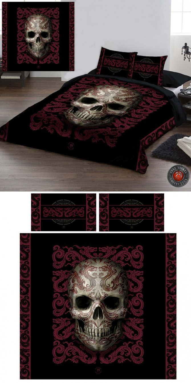 Anne Stokes Oriental Skull Double Duvet Cover Set - £69.99 : From ANGEL CLOTHING