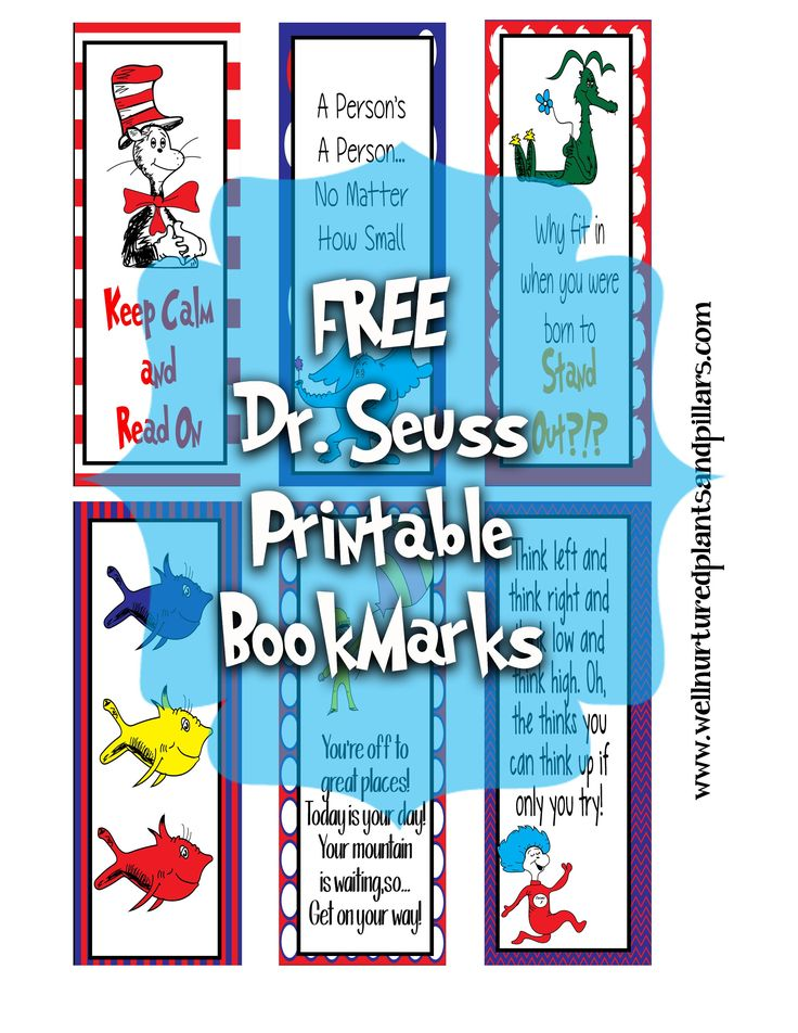 FREE Printable Dr. Seuss Bookmarks