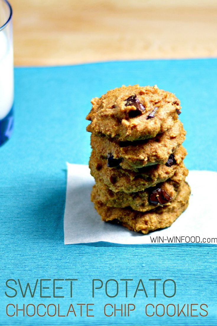 Sweet Potato Chocolate Chip Cookies | WIN-WINFOOD.com   These tender and light cookies are a #lowfat, vitamin A loaded take on the ultimate holiday classic. #vegan #wholegrain #lowcalorie #cleaneating