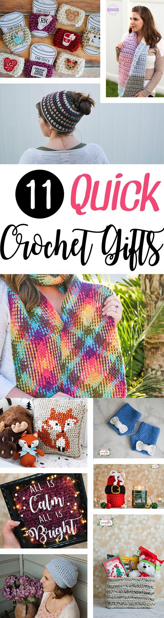 11 Quick Crochet Gift Ideas Roundup for Christmas, holiday, white elephant, birthday, or anniversaries! | ALL free patterns from Sewrella to be whipped up at lightning speed!