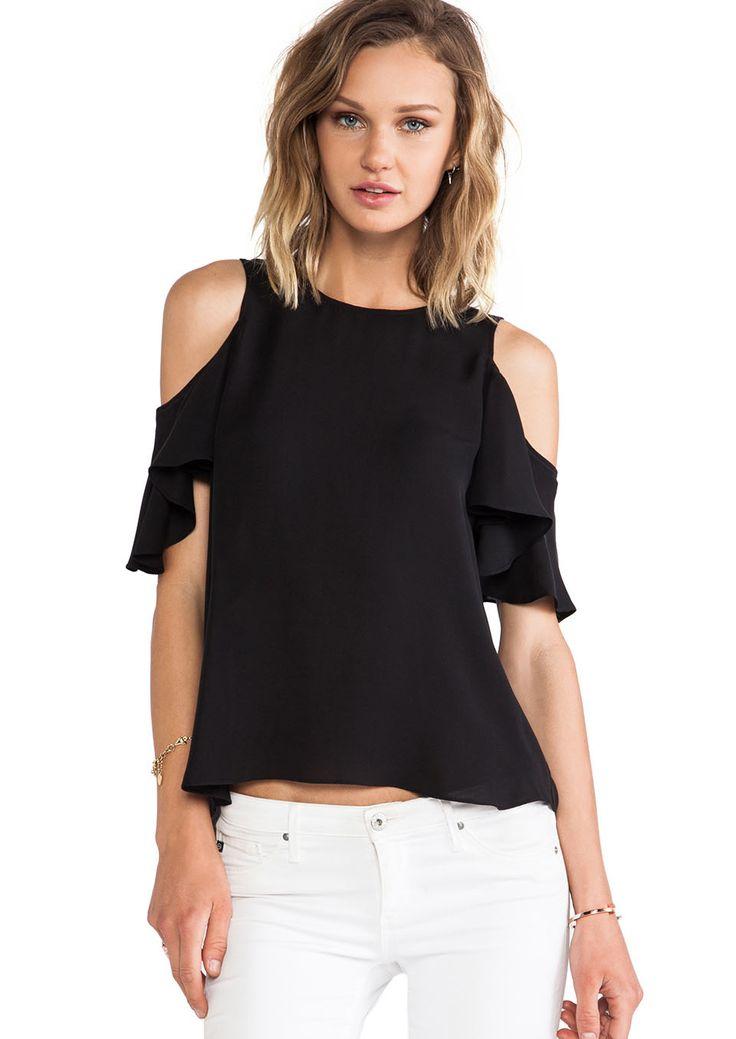 Black Cut Out Ruffle Sleeve T-shirt US$9.99