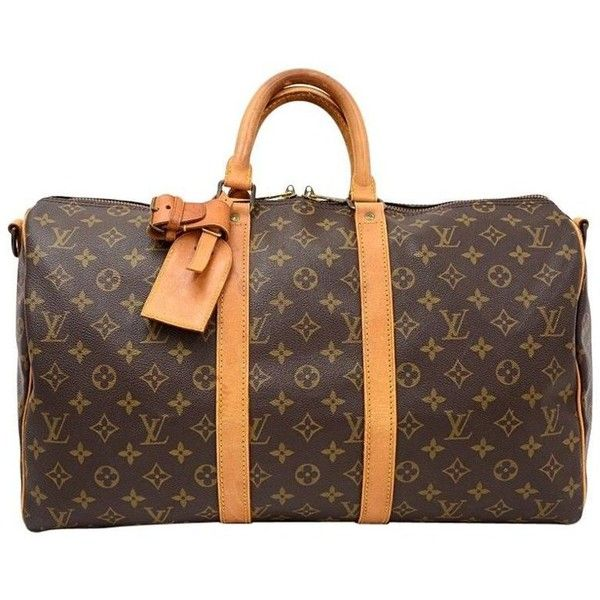 Preowned Vintage Louis Vuitton Keepall 45 Bandouliere Monogram Canvas... (£465) ❤ liked on Polyvore featuring bags, luggage, brown and duffel bags