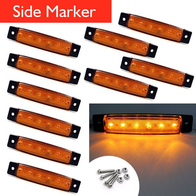 10pcs 12v 24v 6 Led Side Marker Indicators Lights Lamp For Car