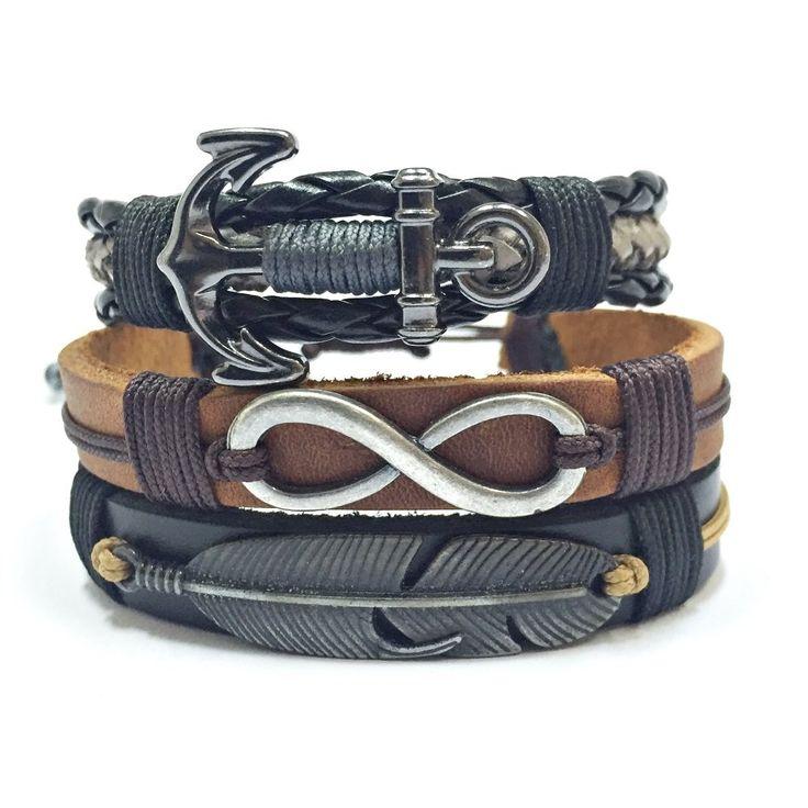 Kit 3 Pulseiras Masculinas Couro Trançado Ancora Pena mens bracelets fashion style cocar brasil