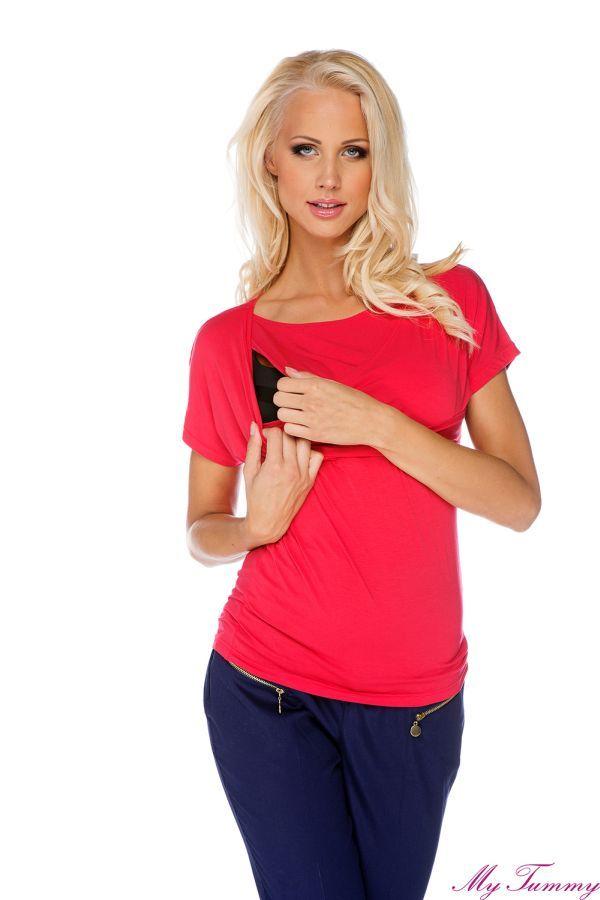 Kopertowa bluzka do karmienia czerwona