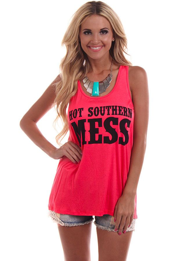 Lime Lush Boutique - Coral Hot Southern Mess Tank Top, $24.99 (http://www.limelush.com/coral-hot-southern-mess-tank-top/)