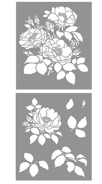 Beautiful full-blown cottage roses Large botanical flower stencil 2 sheet stencil The soft blousy, full blown Cottage Rose Stencil is a classic flower design, perfect for traditional and modern decorating schemes. This beautiful, timeless rose stencil, inspired by classic English roses found i