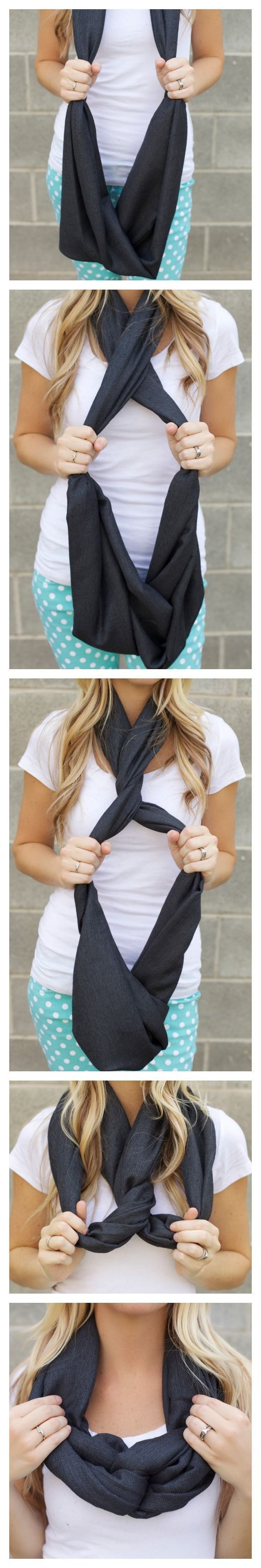 Another way to tie an infinity scarf - I haven't seen this one before. - pretiffy
