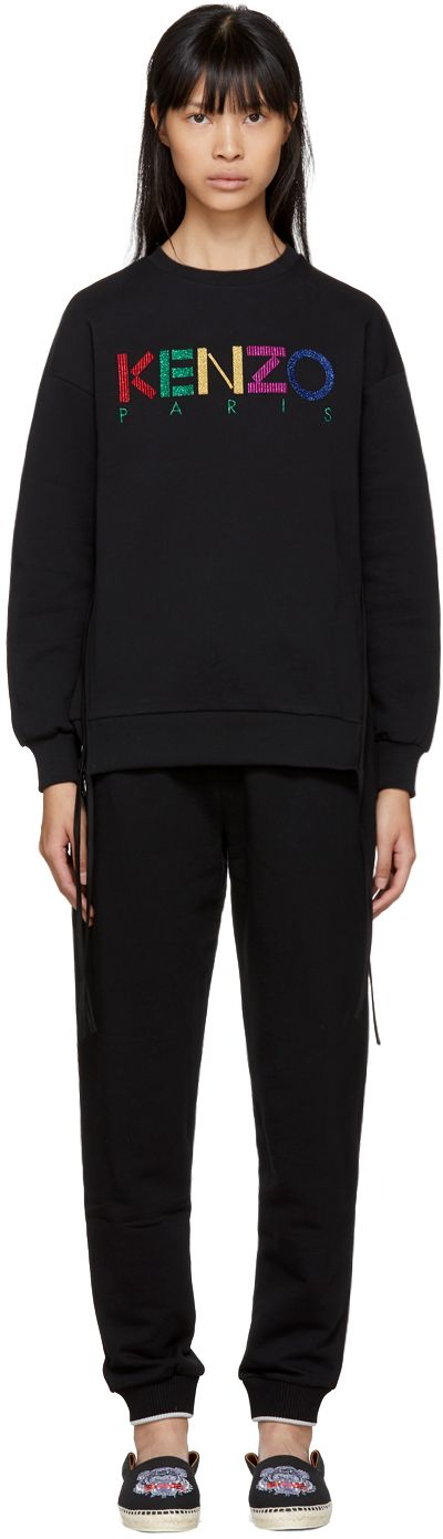 Kenzo - Black Limited Edition Holiday Logo Side Zip Sweatshirt