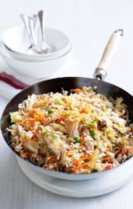 Chicken fried rice.                                      Double the recipe = dinner for 4, lunch for 2 x 2 days (v.generous serves!!)!   Added sweet chilli to the recipe for extra flavour. Might try adding some sesame oil/peanut oil next time too.
