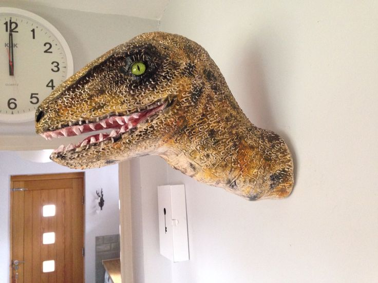 Velociraptor Faux Taxidermy Head Made From Recycled