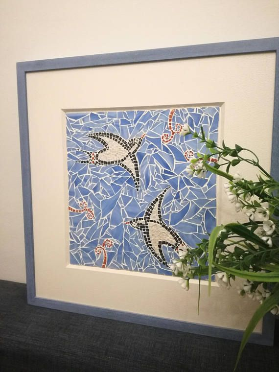Swallow mosaic wall art Mosaic wall hanging decor for home