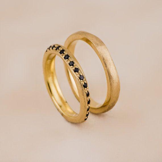 Rina- 14K Yellow Gold and Natural Black Diamonds Wedding Rings, Gold Wedding Bands, Black Diamonds Wedding Rings, Handmade Jewelry