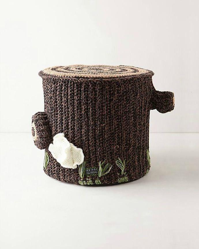 Crocheted Tree Stump Pouf by Miga de Pan and Seletti