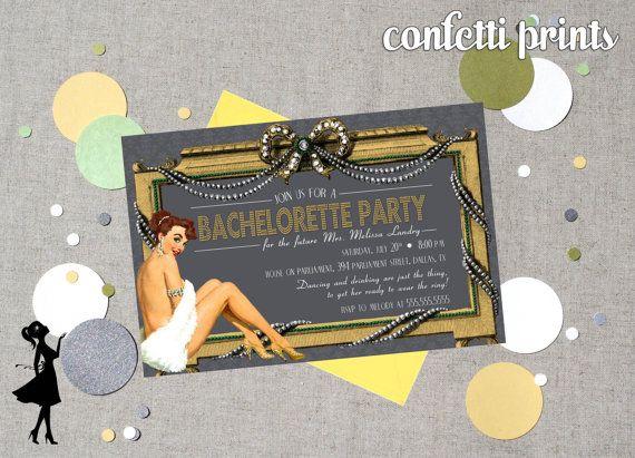 Retro Bridal Shower / Bachelorette Invitation - BURLESQUE Printable
