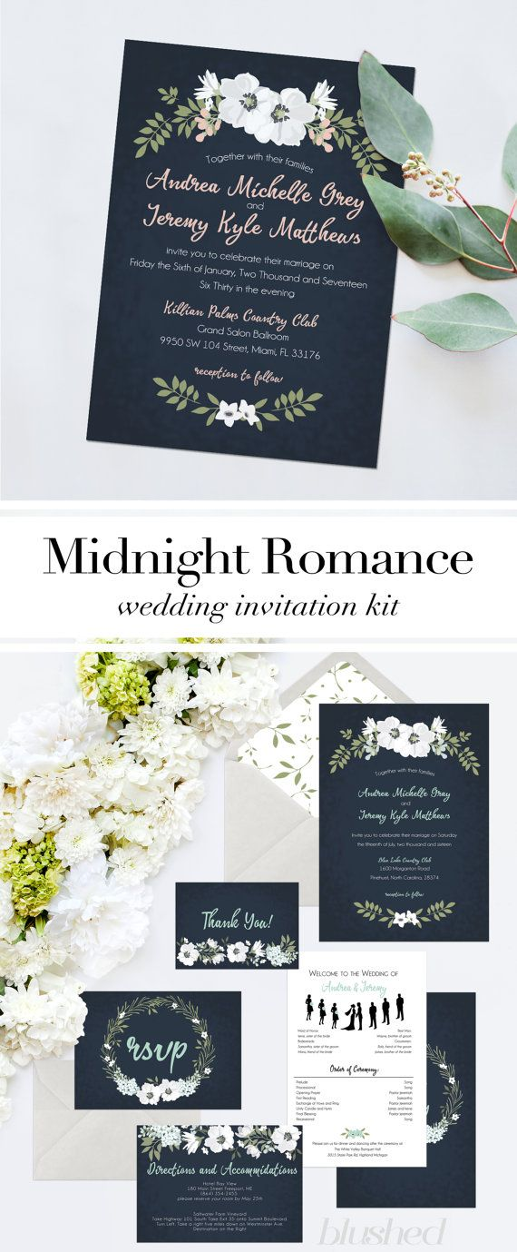 Blush Mint and Navy Wedding Invitation Suite