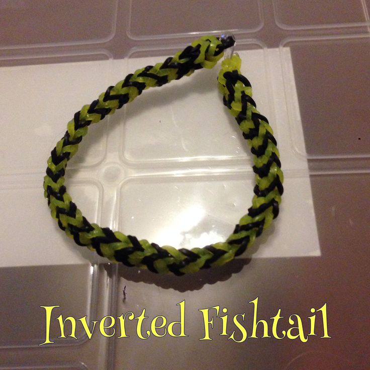 Yellow & black Inverted Fishtail bracelet, made by hand