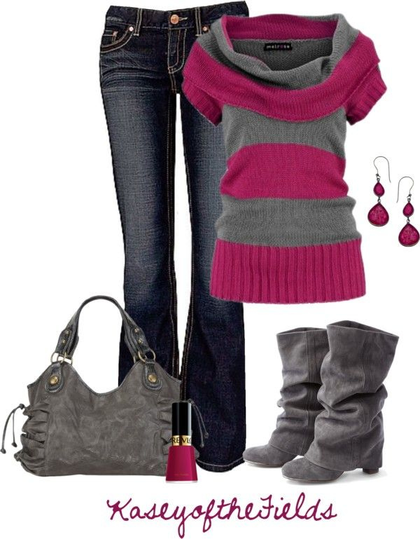 """Grey and Fuschia"" by kaseyofthefields on Polyvore"