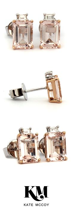 La Vie en Rose Earring by Kate-McCoy |  Handmade from 18 karat white gold and rose gold. The stunning feature stone is Morganite. #Earrings #JewelleryCollection #JewerlyCollection #GiftIdea