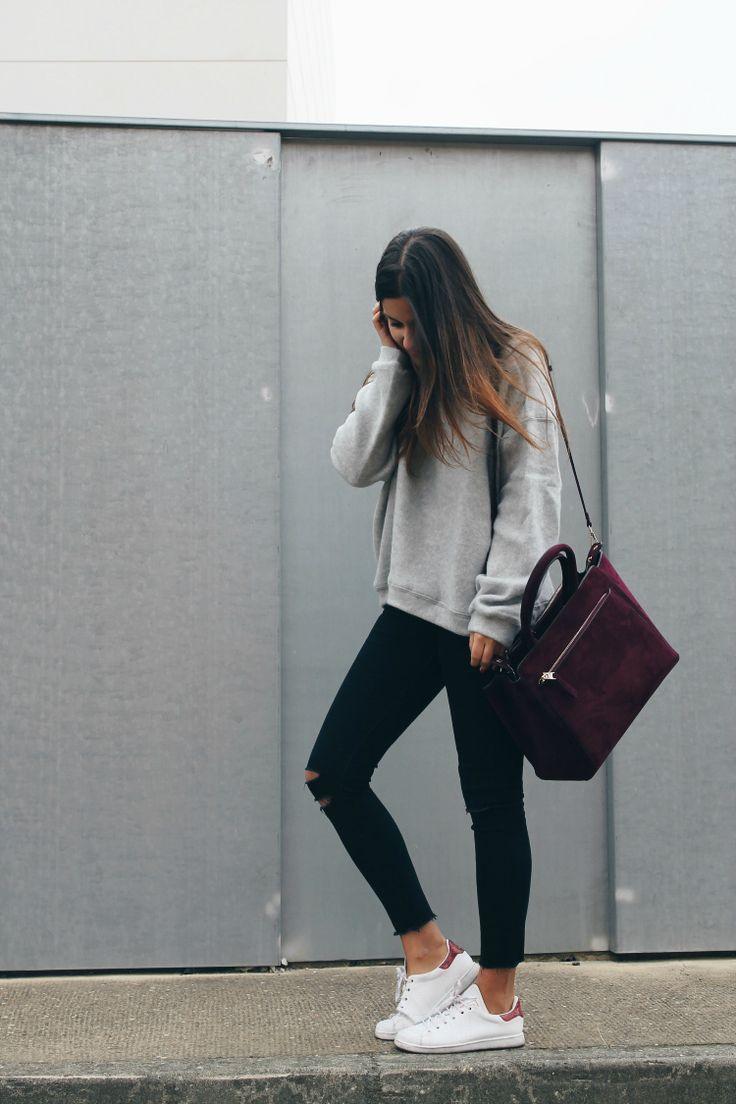 Simple everyday #outfit wearing grey sweatshirt, black #jeans, #sneakers and burgundy bag