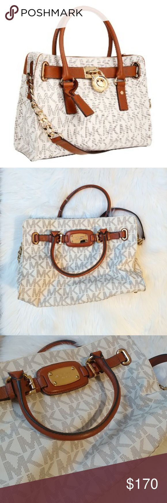 Michael Kors Hamilton bag Cream shoulder bag. Condition: very good. I have this bag for a year but I don't use it so often.  Size: 14.5x10x6 Michael Kors Bags Shoulder Bags