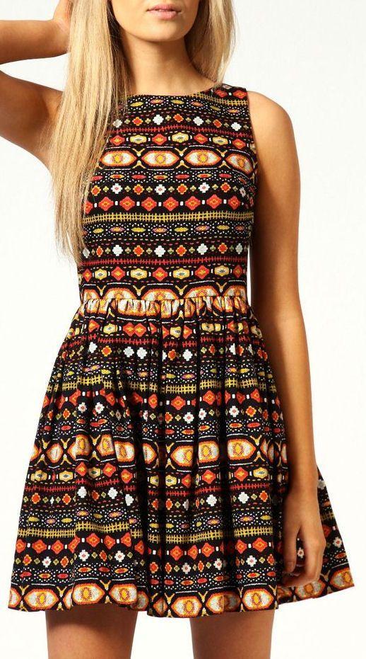 Aztec CutOut Back Skater Dress  {love the colors  the designs} [em]