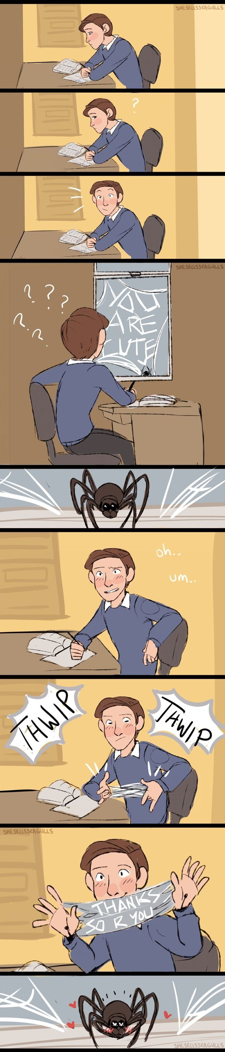 I don't what's weirder, a spider flirting with Peter and him returning it, or the Spider somehow knowing English.