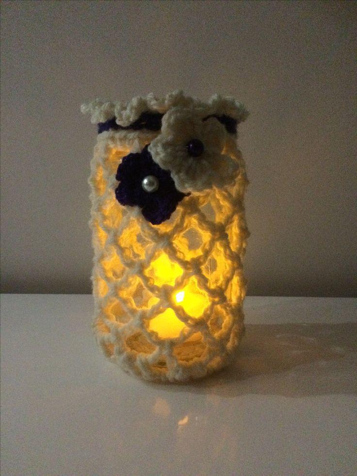 Crochet jam jar deep purple with frill top