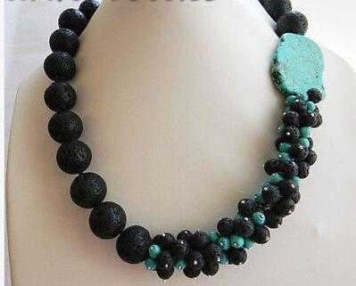 Livraison gratuite > > > 20 '' 18 MM rond noir Volcano lava Baroque collier Turquoise