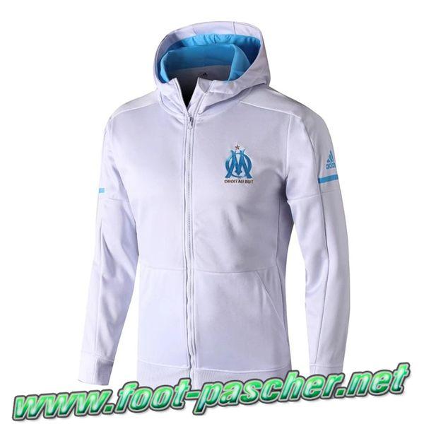 Nouveau Capuche Veste Foot Marseille OM Blanc 2018 Moins