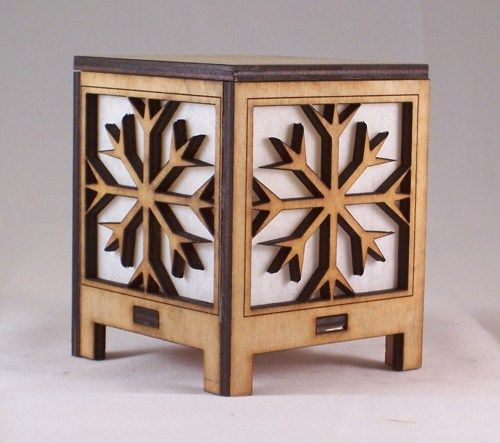 Laser Cut Snowflake tea light | BarrysWoodWorks - Woodworking on ArtFire