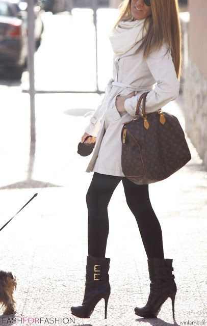 Likes: outfit combo of cream trench/wrap around sweater+ black leggings/tights+stilleto booties