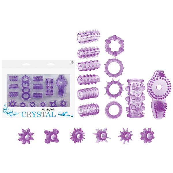 Magic Crystal Purple Cock Ring Kit for Sale  Purple Stimulator Kit - 4 Piece Set Includes:  Multi Function Bullet  Cock & Balls Rings with Dolphin Clit Stimulator  2 Jelly Sleeves