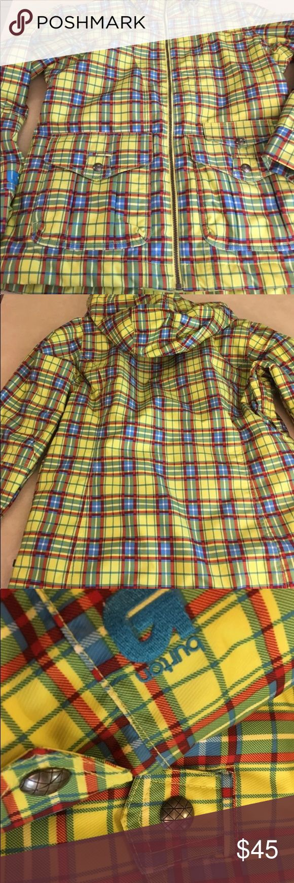 "Burton Snowboard Dry Ride Jacket Yellow Plaid L Plaid Snowboard Jacket. Tons of Pockets Hooks. Zipped Mesh Armpit Lining 100% Polyester with 100% Polyurethane Membrane, Tricot Lining Size Large Measures approximately 22.5"" pit to pit 26"" Sleeve Length 28"" Length Burton Jackets & Coats Puffers"
