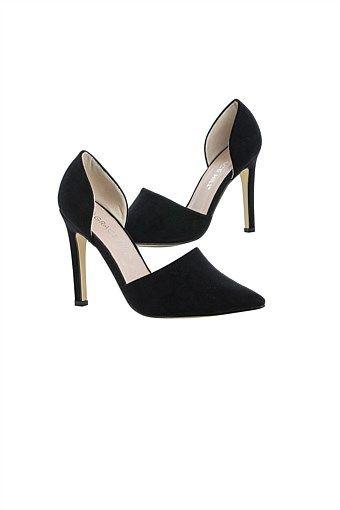 Women's Shoes - Cutout Suede Heel
