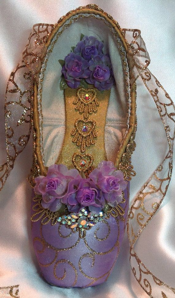 Purple and Gold decorated pointe shoe. Lilac by DesignsEnPointe